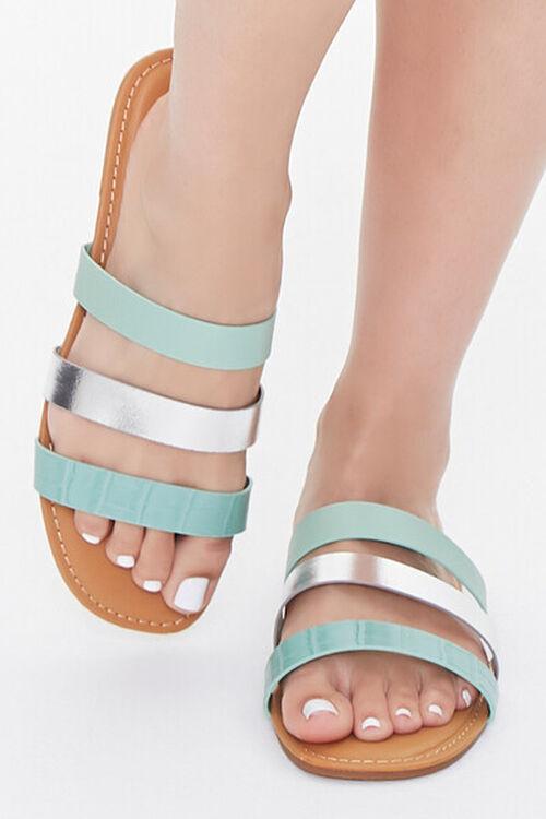 Metallic-Strap Flat Sandals, image 4