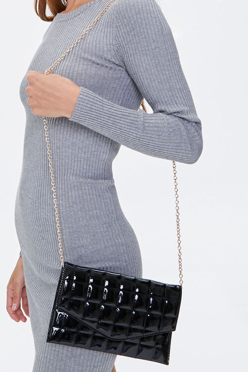 BLACK Faux Patent Leather Quilted Clutch, image 1
