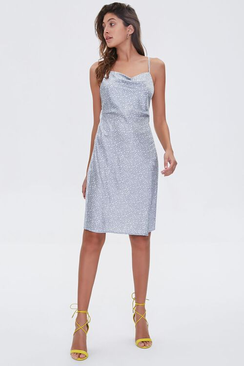 LIGHT BLUE/WHITE Satin Spotted Print Dress, image 4