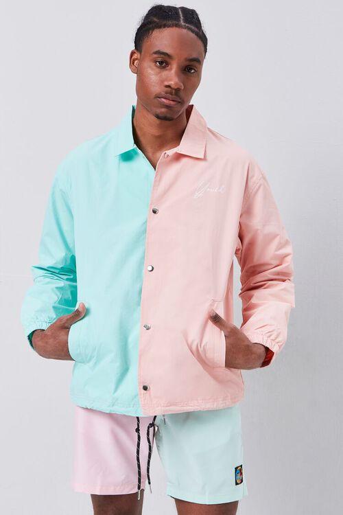 Colorblock Graphic Coach Jacket, image 1