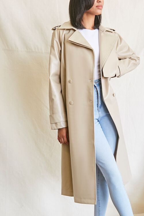 DESERT SAND Faux Leather Trench Coat, image 2