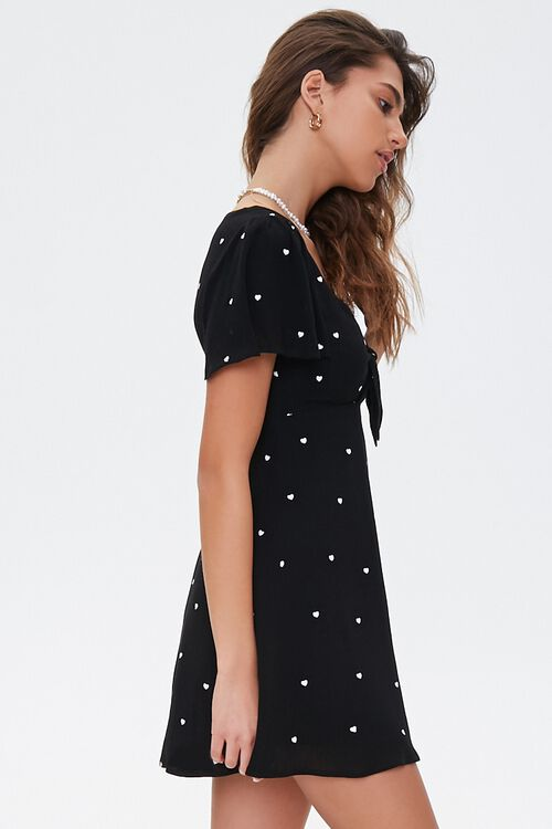 BLACK/WHITE Heart-Embroidered Tie-Front Dress, image 2