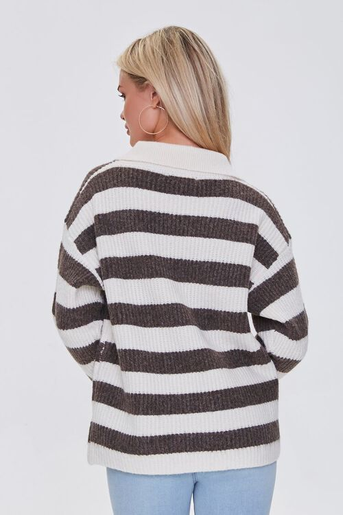 CREAM/BROWN Striped Sweater-Knit Pullover, image 3
