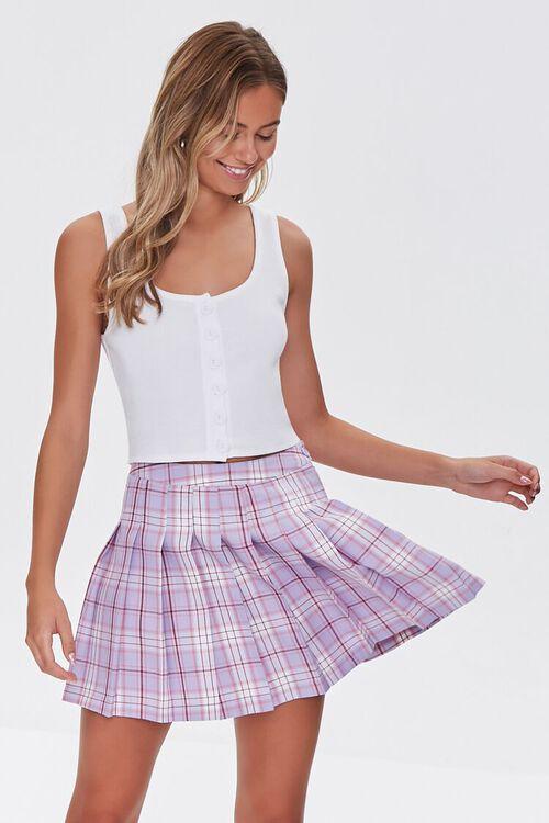 LAVENDER/MULTI Pleated Plaid Mini Skirt, image 1