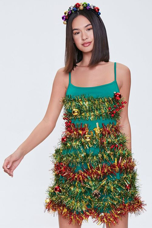 GREEN/MULTI Tinsel Garland Mini Dress, image 1
