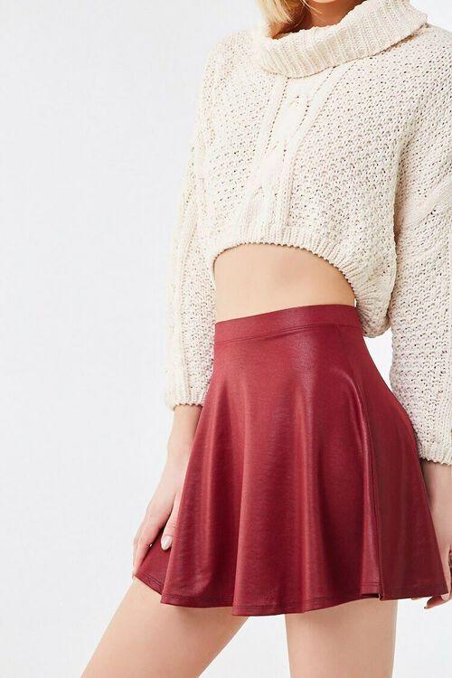BURGUNDY Sheeny Skater Skirt, image 2
