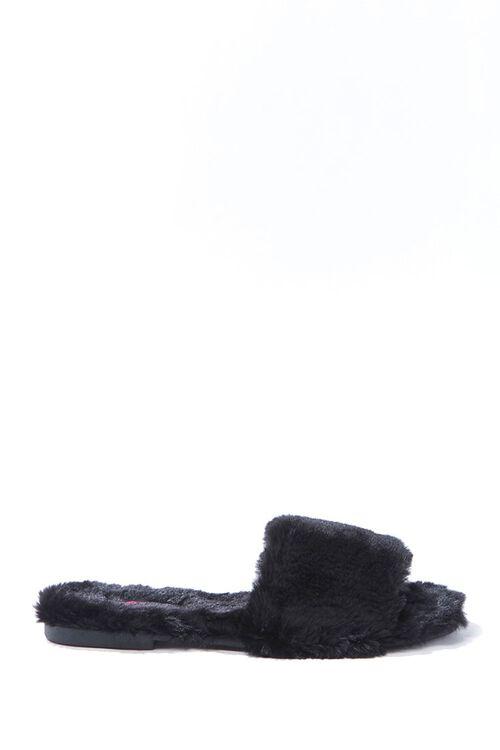 BLACK Faux Fur Slippers, image 1