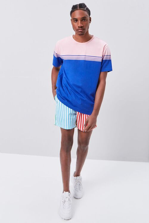 Colorblock Striped Print Swim Trunks, image 5