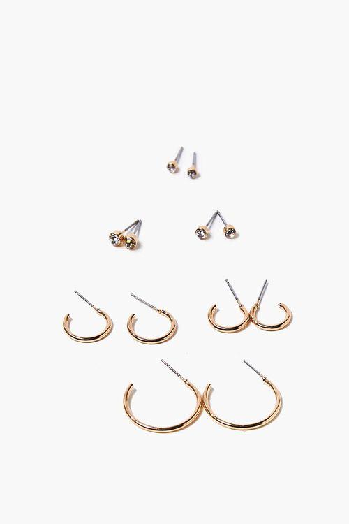 Faux Gem Hoop & Stud Earring Set, image 1