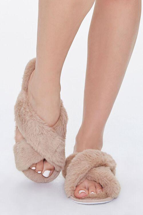 Faux Fur Crisscross Slippers, image 4