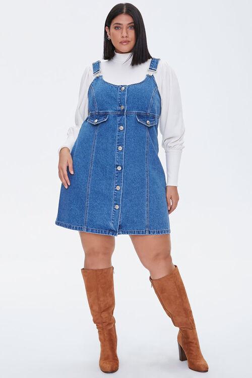 Plus Size Denim Overall Dress, image 4