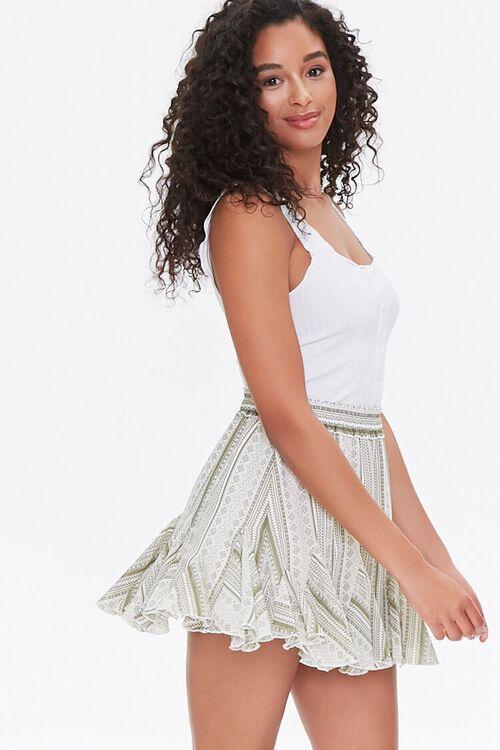 Ornate Print Godet Mini Skirt, image 1