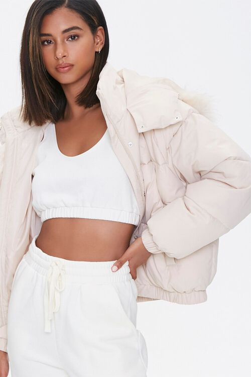 Faux Fur Hooded Puffer Jacket, image 1