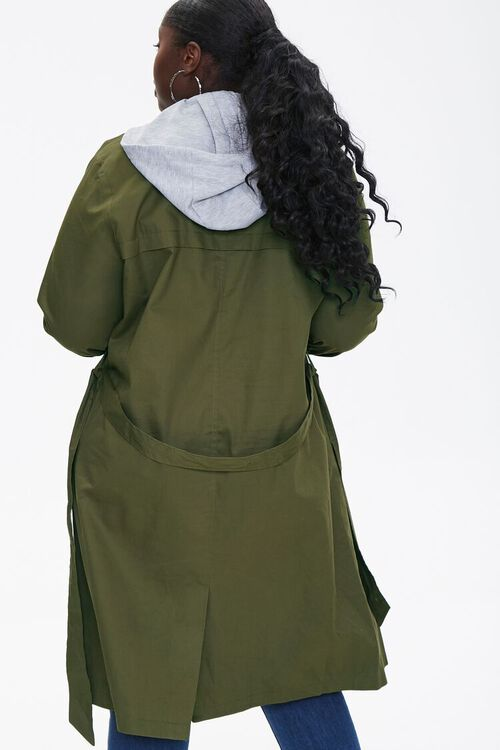Plus Size Hooded Double-Breasted Trench Coat, image 3