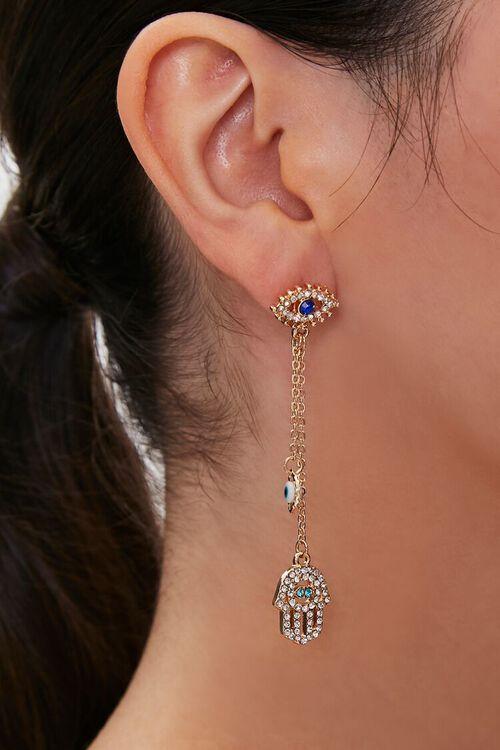 Hamsa Charm Drop Earrings, image 1