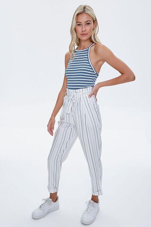 IVORY/BLUE Striped Paperbag Pants, image 5