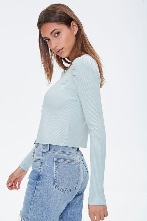 Ruched-Sleeve Cardigan Sweater, image 2