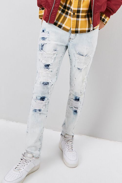 Bleached Distressed-Panel Skinny Jeans, image 1