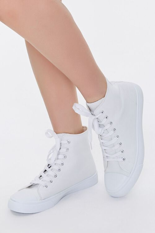 WHITE Lace-Up High-Top Sneakers, image 1