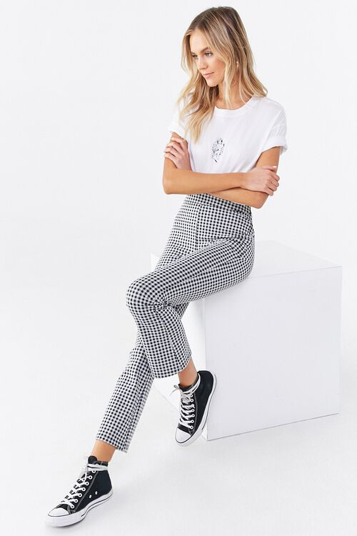 Gingham Print Flare Pants, image 5