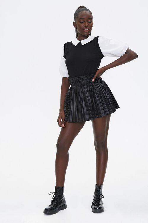 Pleated Faux Leather Mini Skirt, image 5