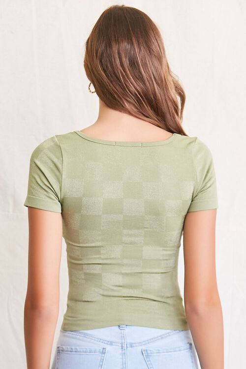 LIGHT OLIVE Seamless Checkered Top, image 3