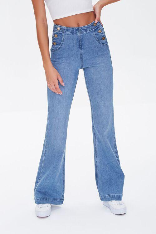 MEDIUM DENIM Button-Side Flare Jeans, image 2