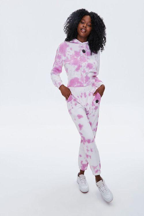 WHITE/PINK Tie-Dye Floral Hoodie, image 5
