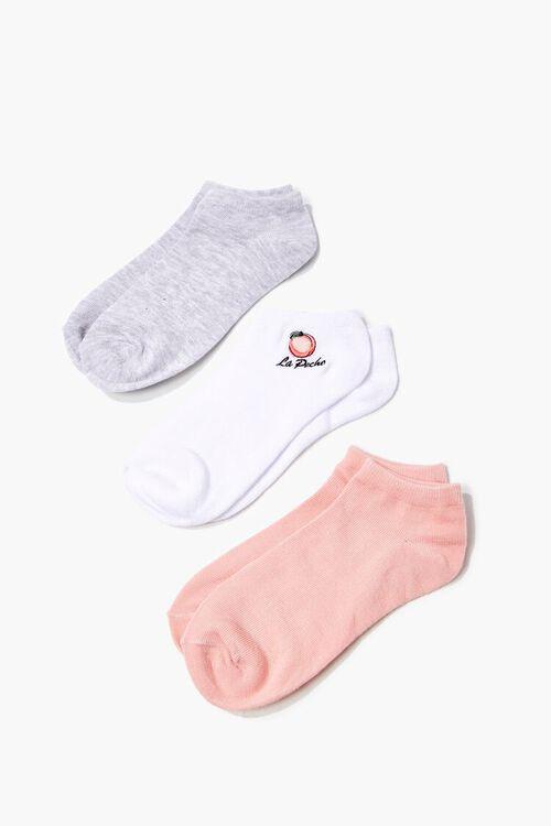 PEACH/MULTI Peach Graphic Ankle Socks - 3 Pack, image 1