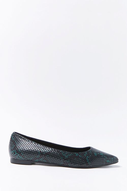 Marbled Faux Snakeskin Flats, image 1