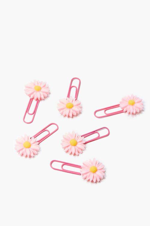 PINK/MULTI Flower Charm Paper Clip Set, image 1