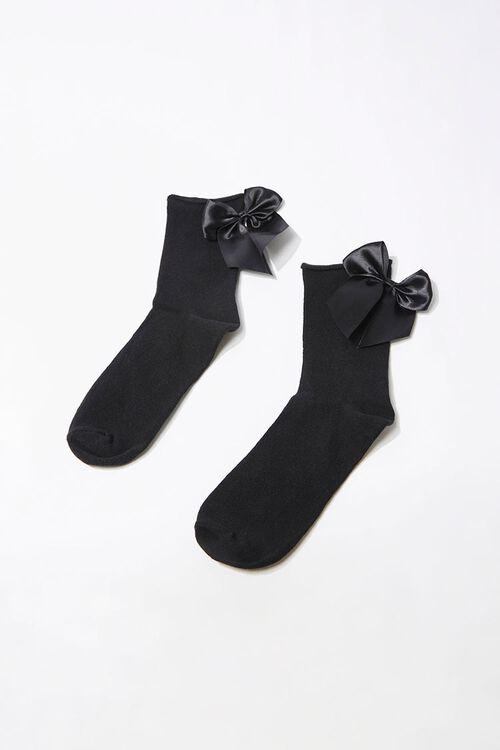 BLACK Satin Bow Crew Socks, image 1