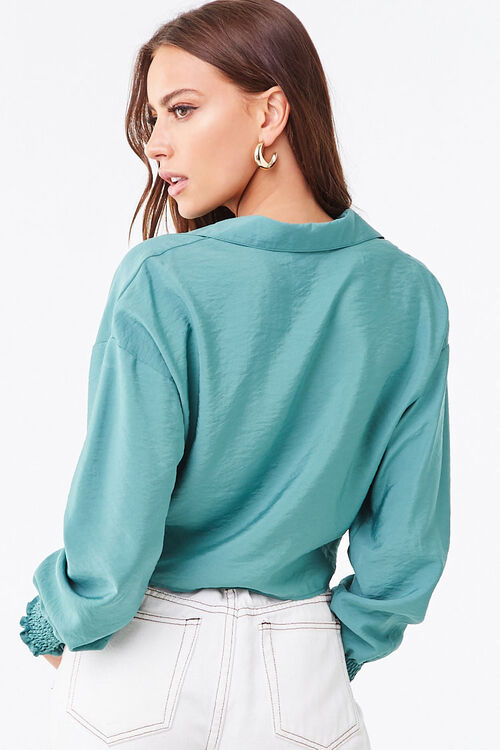 Smocked Self-Tie Buttoned Top, image 3