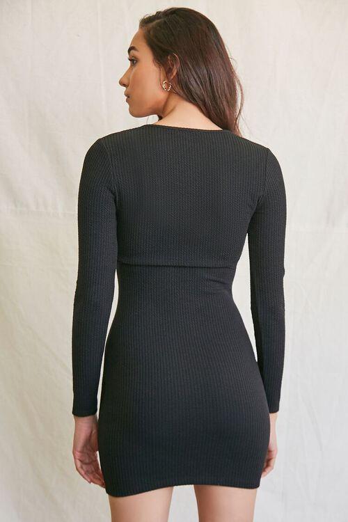 BLACK Ribbed Mini Dress & Crop Top Set, image 3