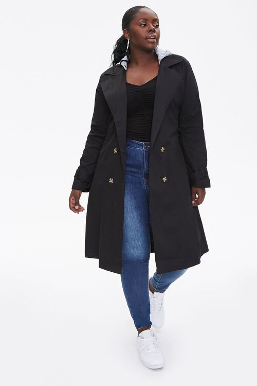 Plus Size Hooded Double-Breasted Trench Coat, image 4
