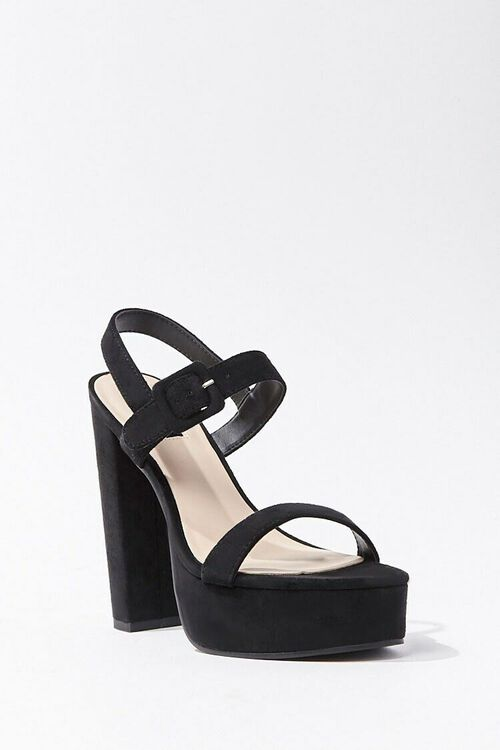 Faux Suede Ankle-Strap Platform Heels, image 1