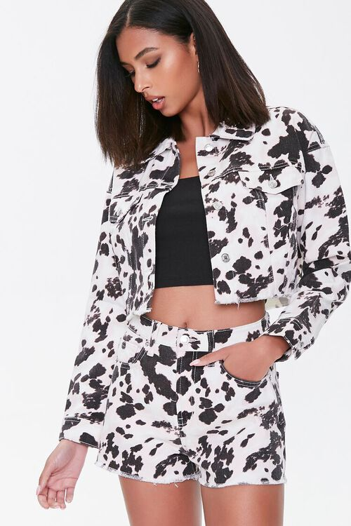 Cow Print Denim Shorts, image 6