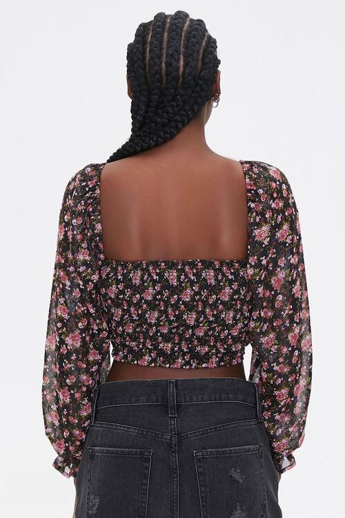 BLACK/MULTI Smocked Floral Print Crop Top, image 3