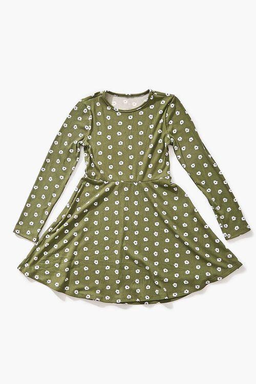 Girls Daisy Print Skater Dress (Kids), image 1