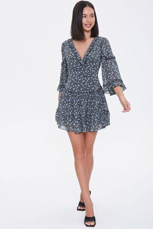 Floral Lace-Up Chiffon Dress, image 4