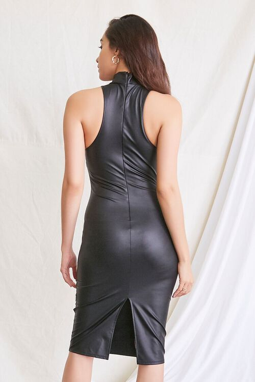 BLACK Faux Leather Slit Dress, image 3