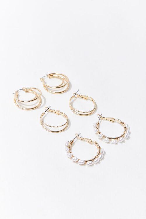 Faux Pearl Hoop Earring Set, image 1