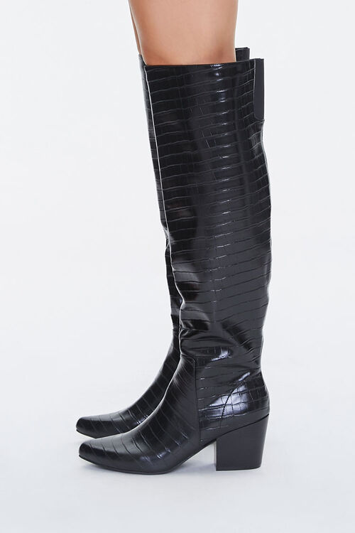 Faux Croc Leather Knee-High Boots, image 2