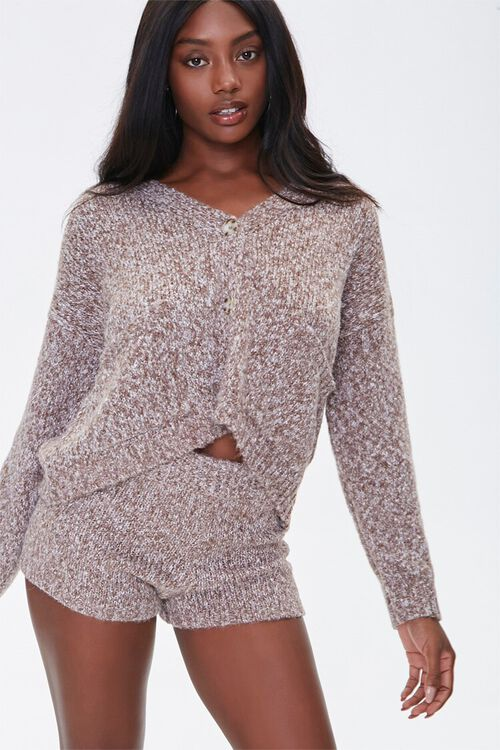 Marled Sweater-Knit Shorts, image 1
