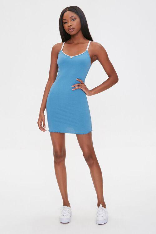 BLUE Ribbed Lettuce-Edge Mini Dress, image 4