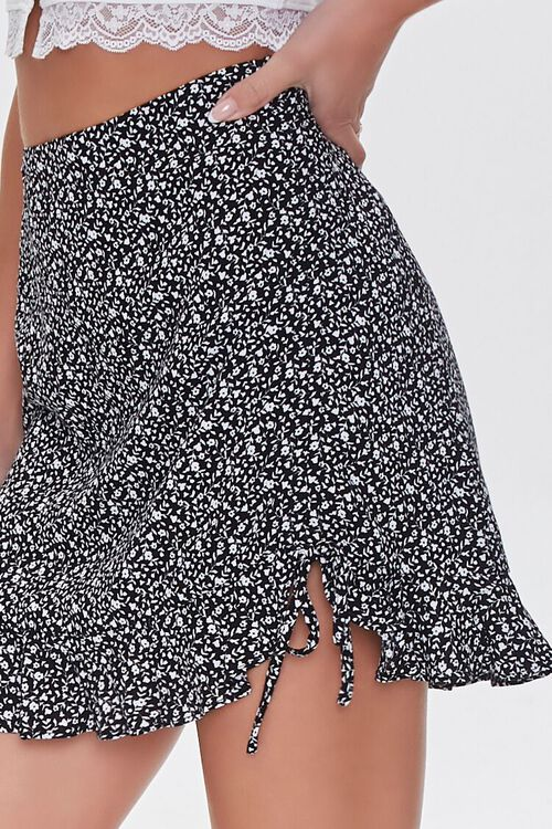 BLACK/WHITE Floral Print Mini Skirt, image 5