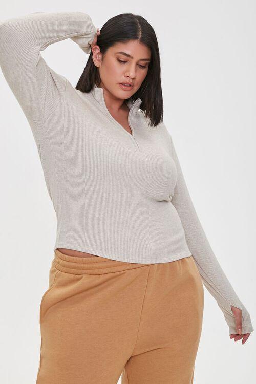 Plus Size Ribbed Half-Zip Top, image 1