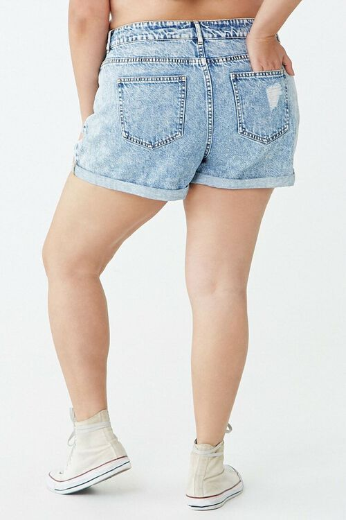 Plus Size Distressed Cuffed Denim Shorts, image 3