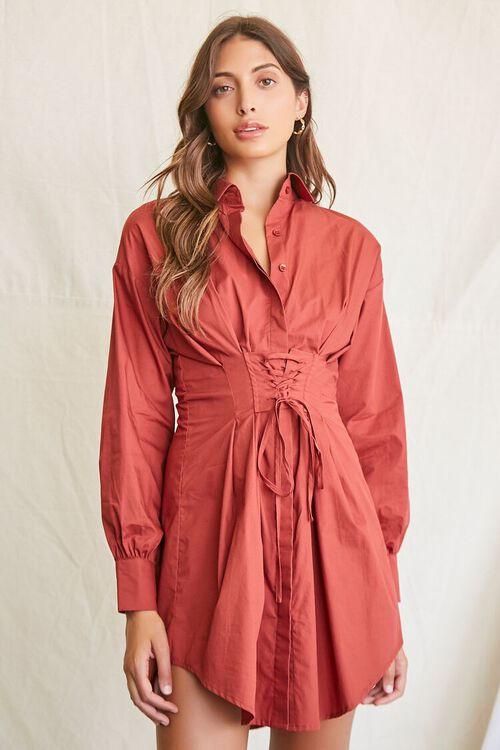 BROWN Lace-Up Shirt Dress, image 1
