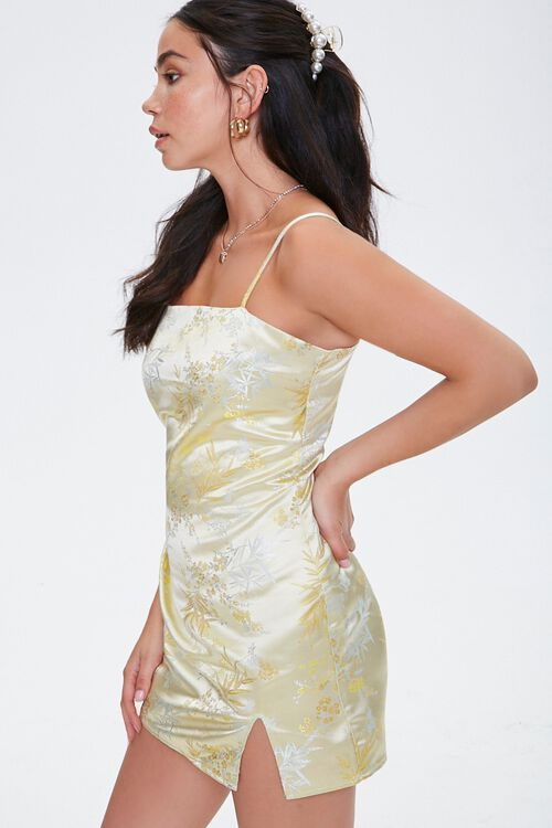 YELLOW Embroidered Satin Cami Dress, image 2